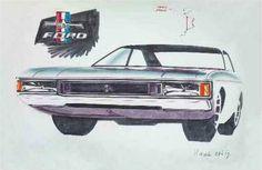 OG | 1972 Ford Granada / Consul Sedan Mk1 | Design sketch dated Apr. 1969