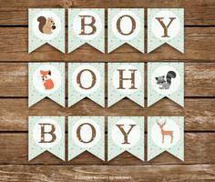 Woodland Baby Shower Banner, Boy Oh Boy. Animals #papergoods @EtsyMktgTool http://etsy.me/2g3ImNx