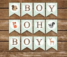 Woodland Baby Shower Banner, Boy Oh Boy. Animals Sign, Boy Shower - Printable - INSTANT DOWNLOAD, Digital file (12 Flags)