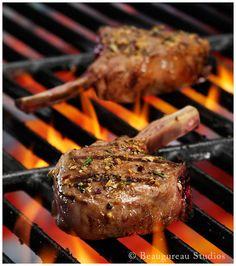 lamb chops: lamb rib chops, fresh lemon juice, garlic clove, ground cumin, olive oil, sea salt, freshly ground pepper, parsley, and melted butter