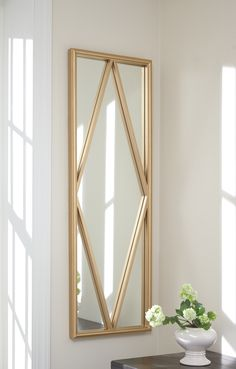 Signature Design by Ashley Offa Accent Wall Mirror - x in. Entryway Mirror, Wood Framed Mirror, Wall Mirror, Ashley Furniture Industries, Color Dorado, Cool Mirrors, At Home Store, Metal Furniture, Home Accessories