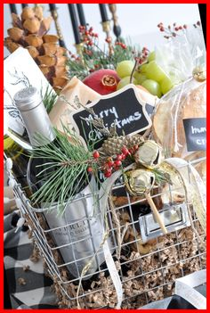 Cheese Gift Baskets, Cheese Gifts, Wine Gift Baskets, Wine Cheese, Gift Basket Ideas, Gourmet Gift Baskets, Diy Holiday Gifts, Christmas Gift Baskets, Christmas Wine