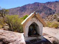 One of the countless shrines that dot the roadside in Argentina- they're really everywhere and serve different purposes, from memorializing someone who died in a car accident (like we do with roadside crosses) to marking the memory of a mother who died of thirst by placing water bottles around it.