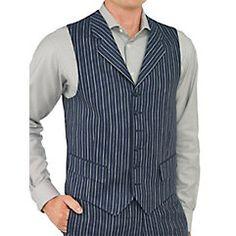 1920s style stripe mens vest - 100% Linen Six-Button Notch Lapel Stripe Vest