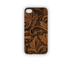 Nature Carved iPhone Case Organic Leaf Botanical Wood Carved-look Woodland Nature Black Brown Rustic Classic iPhone 5 4S 4 Leaves