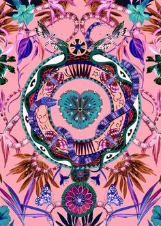 Close of the Matthew Williamson Mother Amazon print. This is the hero print of our 2016 Amazonia collection. It was painted by hand in the London studio as an ode to psychedelic tales.
