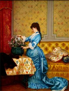 Young Woman in a Blue Dress ~ Auguste Toulmouche ~ (French: 1829-1890)