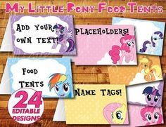 Printable My Little Pony Birthday Party Food Label / Food Tent