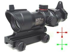 """ACOG Type 1x30 Red/Green Cross Sight Scope w/QD 11 & 20mm Mount by AirSoft. $81.99. FEATURES: 30mm military style red/green cross sight with 2 levels brightness control. Full metal casting with anodized matte black finish. Tactical design. Anti-glare reflective coating on front lens. 2 metal QD (quick detachable) scope mount for quick installation. Suitable for any 20mm RIS weaver standard rail and 11mm rail. Windage and elevation adjustment (1/4"""" click @100 yards)...."""