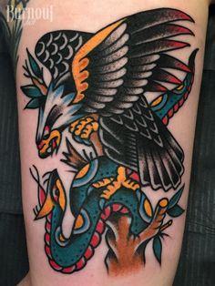 Eagle vs. Snake Tattoo by Christian Otto | BURNOUT INK TATTOO PARLOUR | Palma de Mallorca, Spain, Tattoo Mallorca, Tatuajes Palma de Mallorca, Tättowierungen Mallorca