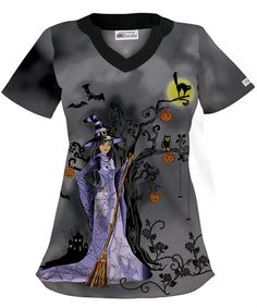 UA+Wicked+Witch+Black+Print+Scrub+Top great for Halloween . Halloween Scrubs, Halloween Outfits, Halloween Clothes, Halloween Costumes, Medical Uniforms, Work Uniforms, Nursing Uniforms, Cute Scrubs Uniform, Stylish Scrubs