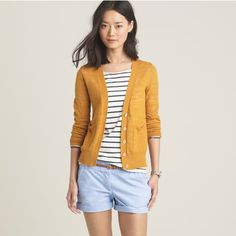 Baby Blue Shorts, Striped Top and Light Mustard Cardigan