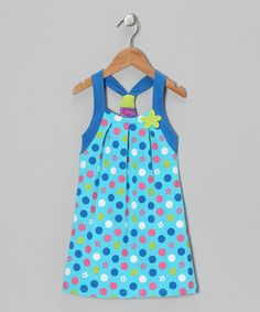 Made from a super-soft and stretchy cotton knit, this trendy dress fuses style and comfort. Playful polka dots and a cool racerback make this frock feel special without sacrificing function.95% cotton / 5% spandexMachine wash; dry flatMade in India