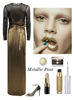"""Golden Beauty"" by kotnourka ❤ liked on Polyvore featuring ESCADA, Urban Decay, Jimmy Choo, Givenchy and Christian Dior"