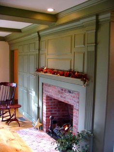 Cape Cod/Colonial Fireplace, wood paneling