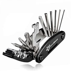 Multifunction 16in1 Bicycle Repair Tools Kit, Free shipping option to most countries worldwide, secured payment and money back guarantee. 10% discount for loyal customers. For best shopping experience visit us, trainedtools.com Mtb, Camper Awnings, Popup Camper, Bicycle Tools, Bicycle Maintenance, Bike Chain, Bike Accessories, Gear Ring, Pocket Knives