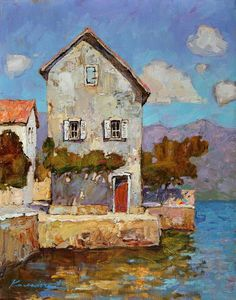 ۩۩ Painting the Town ۩۩ city, town, village house art - Victoria Kalaichi - House at the Sea