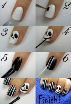 Nightmare Before Christmas Jack Skellington nails for Halloween.fun for Halloween Holiday Nail Designs, Nail Art Designs, Nails Design, French Manicure Nail Designs, Henna Designs, Christmas Nail Art, Holiday Nails, Xmas Nails, Valentine Nails