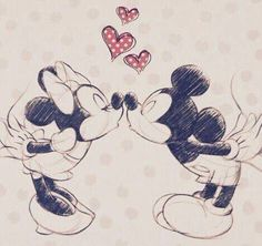 mickey and Minnie love hearts