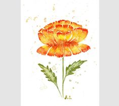 Original watercolor painting Peony flower wall art Floral botanical spring decor Yellow orange red green by BluePalette on Etsy https://www.etsy.com/listing/150160939/original-watercolor-painting-peony