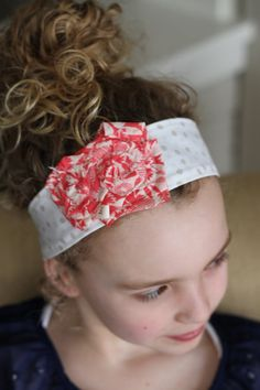 Coral Double Flower: Headband