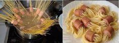 #5. Planter les spaghettis dans les knackis avant la cuisson - Life Hacks : 11 astuces pour cuisiner en toute facilité