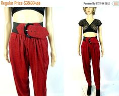 vacationSALE Red High Waist Pants 80s Belted by MirrorballBoutique