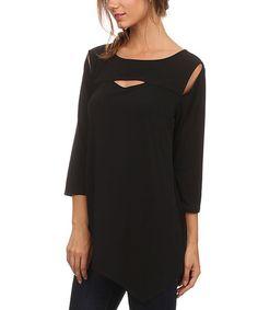 Loving this Black Asymmetrical-Hem Cutout Top - Plus Too on #zulily! #zulilyfinds