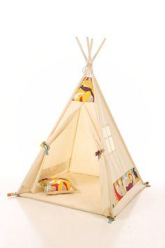 Kids teepee play tent wigwam children's teepee by letterlyy Teepee Play Tent, Teepee Kids, Tie Pillows, Childrens Teepee, Creative Play, Nursery Design, Decorative Pillows, Activities For Kids, Tee Pee