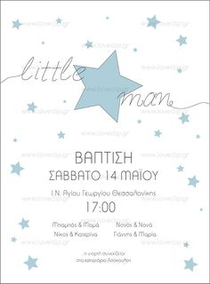 LITTLE STAR MAN  Προσκλητήριο βάπτισης με χρωματιστά αστέρια και μαύρο περίγραμμα σε λευκό φόντο Little Star, Romantic, Invitations, Stars, Boys, Baby Boys, Sterne, Romance Movies, Save The Date Invitations