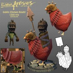 "Goblin Chicken Knight_by Imajus_from GameArtisans, ""Mini 3d - 1 of 6 PATHS!"", page 35, #694."