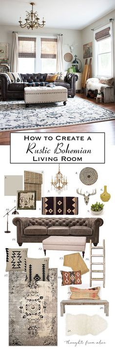 Last April, I shared our living room redo with a new leather sofa. Overall the room has a rustic, vintage style with bohemian touches. Since I get a lot of questions about sources, I put together a li