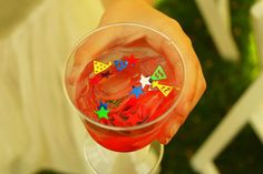 Our child cocktails... fruit punch with a little party inside!
