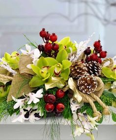 Glorious Winter Centerpiece  by Mary Murray's Flowers #Tulsa #TulsaFlorist #Christmas