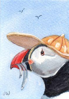 Puffin wearing a cap