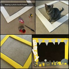 Use a styrofoam poster board. Cut and tape/glue together. Cover with construction paper. Party Photo Frame, Photo Frame Prop, Diy Photo Booth, Picture Frames, Christmas Photo Booth, Christmas Party Themes, 3rd Birthday Parties, Birthday Diy, Camera Aesthetic