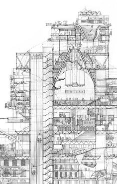 Section Drawing- Stuart Franks. (This is an architectural sectional sketch. Architecture Graphics, Architecture Drawings, Architecture Details, Interior Architecture, Building Architecture, Section Drawing, Architectural Section, Architectural Presentation, Designs To Draw