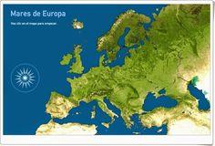 """""""Mares de Europa"""", de toporopa.eu, es un juego en el que hay que identificar en el mapa de Europa sus mapas una vez dado su nombre. Con contador de aciertos y errores."""