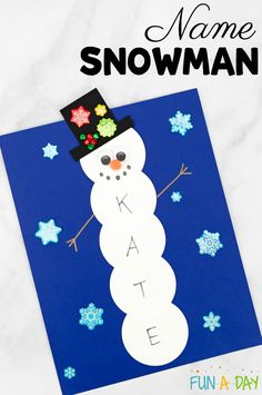 Preschool kids can practice their names while making a name snowman. This activity incorporates arts, crafts, and literacy. There's even a free printable! How to make a name snowman craft in preschool Preschool Christmas Crafts, Daycare Crafts, Winter Crafts For Kids, Classroom Crafts, Preschool Art, Christmas Activities, Craft Activities, Kids Christmas, Holiday Crafts