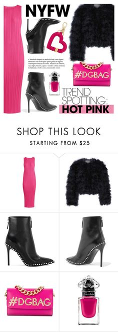 """""""Win It! NYFW Trend Spotting: Hot Pink"""" by dixiebelle81 ❤ liked on Polyvore featuring Pleats Please by Issey Miyake, Chelsea28, Alexander Wang, Dolce&Gabbana, Guerlain and Salvatore Ferragamo"""