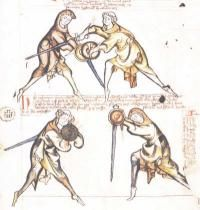 Page from Germany's I.33 One of the oldest martial arts manuals in existence. What does it have to do with comic books? The entire thing is a bunch of juxtaposed sequential illustrations that convey information along with written descriptions that tell the story of a monk, possibly a retired knight, offering fencing lessons to young noblemen.