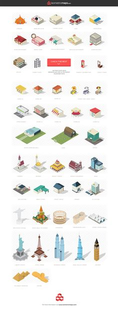 Isometric city map builder with included SVG and AI files. With this download package, you can create beautiful isometric city maps very easily! Just selec