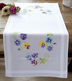 Buy Pretty Pansies Table Runner, 40 x 100cm Stamped Cross Stitch Kit Online at www.sewandso.co.uk