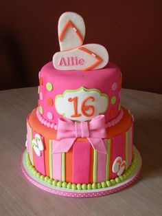 sweet 16 beach cake | Pin Sweet 16 Flip Flops On The Beach Birthday Cake Cake on Pinterest