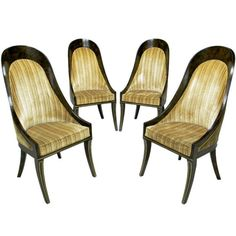 1stdibs.com | Four William Doezema For Mastercraft Amboyna & Brass Spoonback Dining Chairs