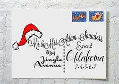 Christmas Card Santa Hat- Christmas Holiday Party -Dashingly Chic Calligraphy Envelope Addressing