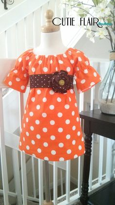 Girls Fall Dress, Orange Dots and Brown Rosette Sash, boutique style, tunic toddlers, sundress, custom sizes 12m, 18m, 2t, 3t, 4t, 5T