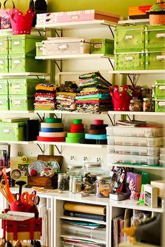 a busy, organized craft room