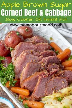 Easy Slow Cooker Corned Beef and Cabbage is hands-down the best corned beef recipe! Corned Beef brisket flavored with brown sugar, mustard, and apple juice is cooked in the crock pot or instant pot. Cabbage Slow Cooker, Slow Cooker Corned Beef, Corned Beef Brisket, Slow Cooker Apples, Corn Beef And Cabbage, Cabbage Soup, Best Corned Beef Recipe, Crockpot Cabbage Recipes, Slow Cooker Recipes