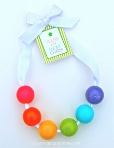 Lucky Charm Bubble Gum Necklaces with free tag by Bloom Designs
